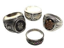 Sterling Rings Three Heavy Men's & Mothers Ring