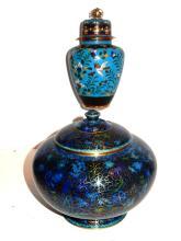 Cloisonn? Floral & Bird Decorated Lidded Jars