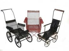 French Ornate Wire Mesh Doll Stroller And Chair