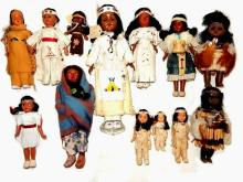 Collection Of 13 American Indian Vintage Dolls