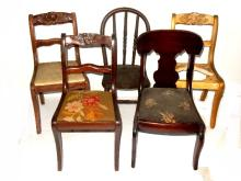 Five Antique Childs Size Chairs Ca. 1930's
