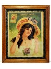 Framed Mail Pouch Tobacco Advertising Litho