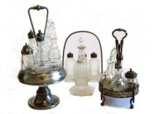 Three Vintage Castor Sets ''One All Glass''