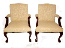 Pair Chippendale Style Chairs Late 20th.C.