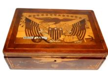 American Sailor Made Inlaid Sewing Box 19th. C.