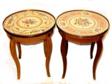 Two French Hand Painted Porcelain Top Tables