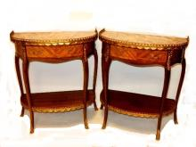 Pair French Marble Top Dimilune Side Table