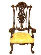 Highly Carved Mahogany Tall Back Arm Chair