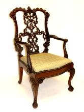 Mahogany Carved Chippendale Arm Chair