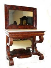 Empire Mahogany Marble Top Pier Table Ca.1860