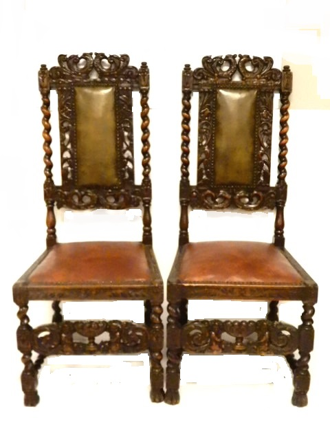Pair Carved High Back Walnut Chairs Ca 1900 s