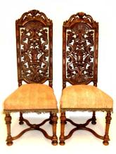 Pair Carved High Back Walnut Chairs Ca. 1920's