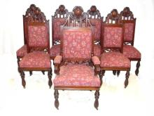 Set 8 Superb Carved Mahogany Dinning Chairs