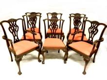 Set Of 8 Carved Chippendale Dinning Chairs