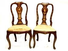 Late 18th. C. Portuguese Bone Inlaid Chairs