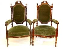 19th. C. French Rosewood Carved Arm Chairs