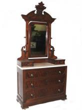 Victorian Walnut Marble Top Dresser With Head