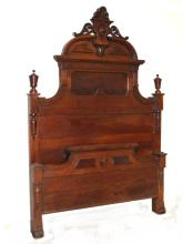 Victorian Walnut Carved High Back Full Size Bed