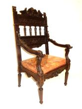 19th. C. Italian Carved Walnut Arm Chair