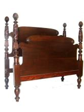Mahogany Empire Acanthus Carved Poster Bed