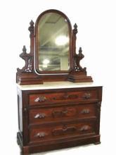 Victorian Walnut Marble Top Dresser Ca. 1860's