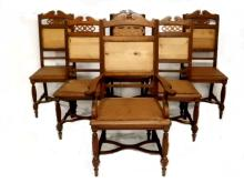 Set Of Six Victorian Walnut Dining Chairs