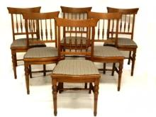 Six Victorian Walnut Dining Spindle Back Chairs
