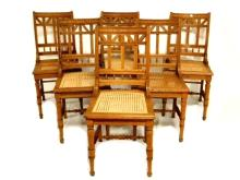 Set Six Carved Oak Victorian Caned Seat Chairs