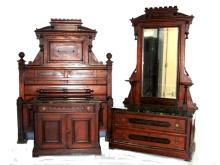 Carved Victorian Walnut Marble Top Bedroom Set