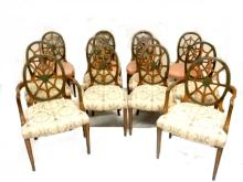 Set Of 12 Spider Back Hepplewhite Dining Chairs
