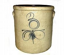Blue Decorated 3 Gallon Stoneware Crock