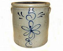 Blue Decorated 5 Gallon Stoneware Crock
