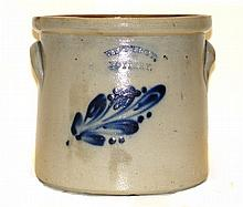 West Troy Pottery Blue Decorated Cake Crock