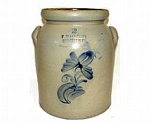 F. Woodworth Vt. Stoneware 2 Gal. Butter Churn