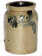 Blue Decorated Stoneware Storage Jar
