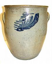 Stoneware Cobalt Blue Decorated Crock