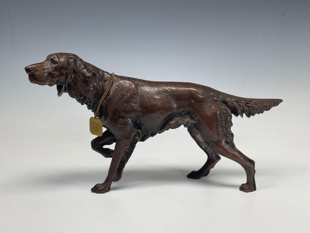 1930's Jennings Brothers Bronzed Metal Sculpture Irish Setter Dog