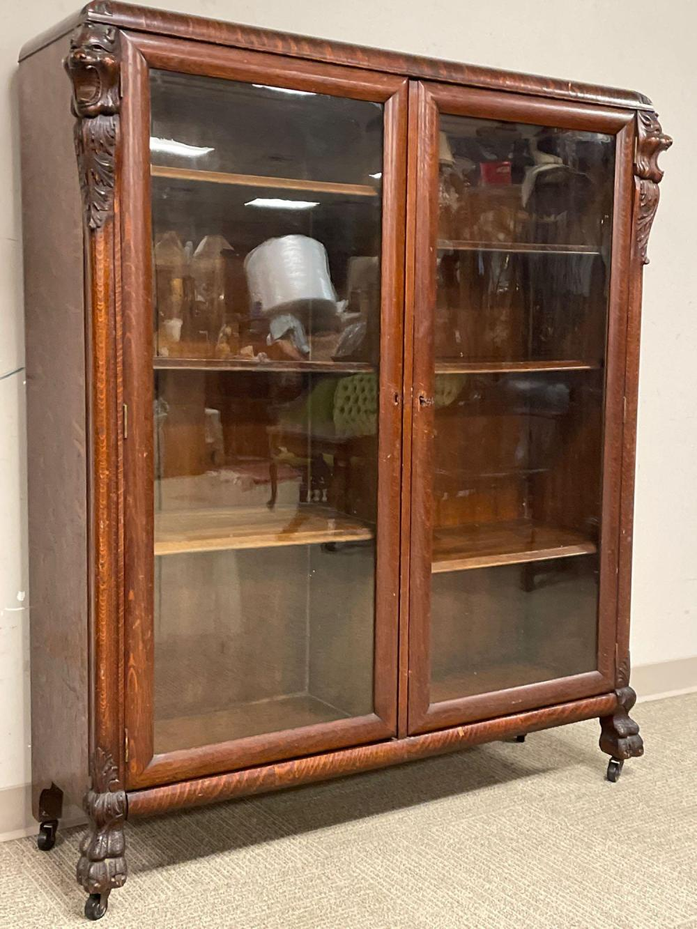 19th Century American Oak Carved Bookcase with Griffins