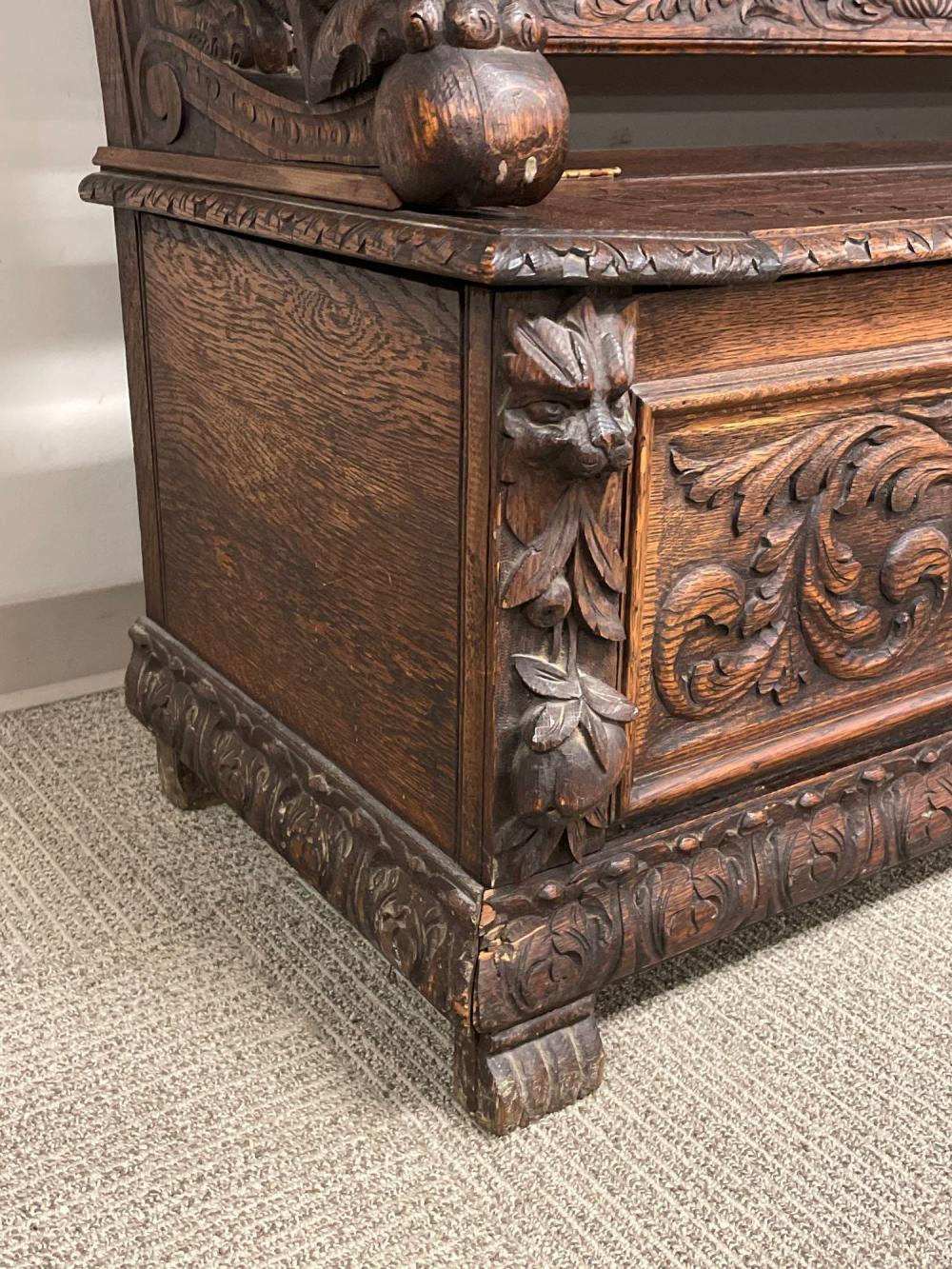 Highly Carved 19th Century Oak Hall Bench