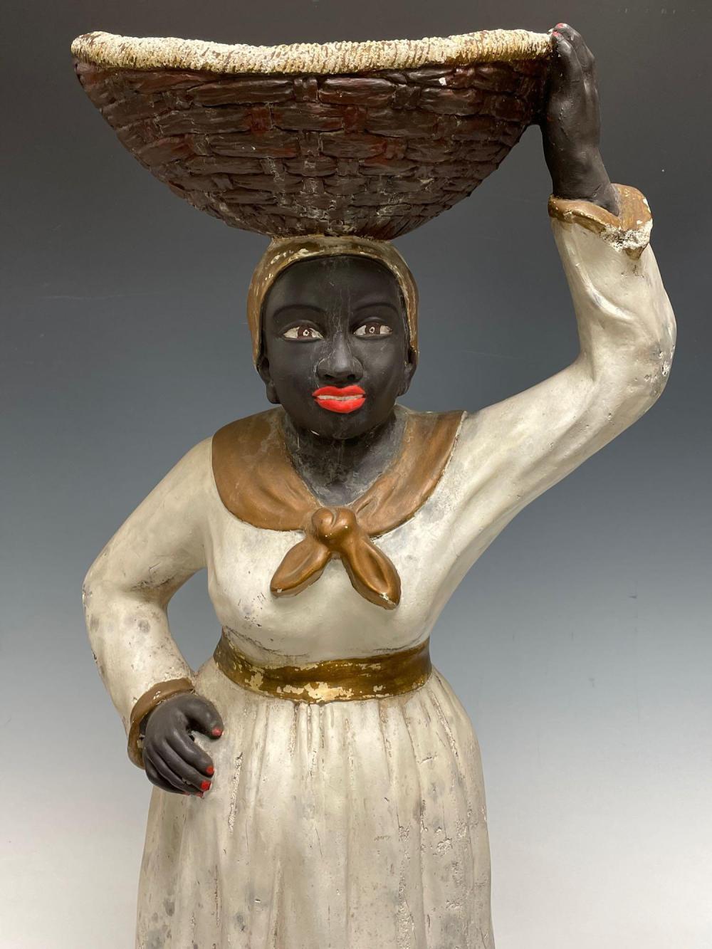 BLACK AMERICANA Woman With Basket Chalkware Folk Art Sculpture