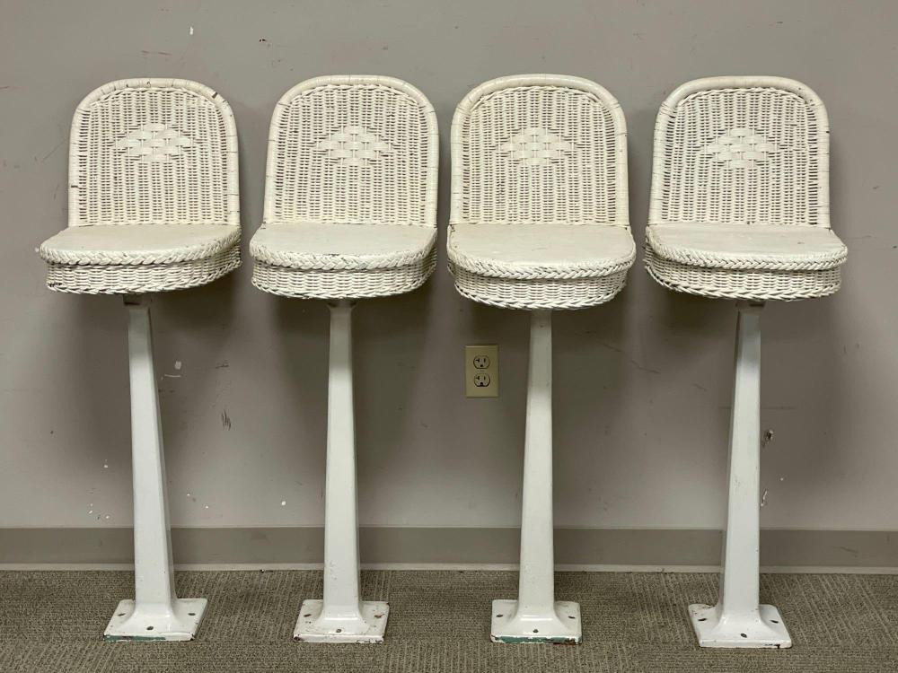 (4) Early American White Porcelain and Wicker Parlor Stools