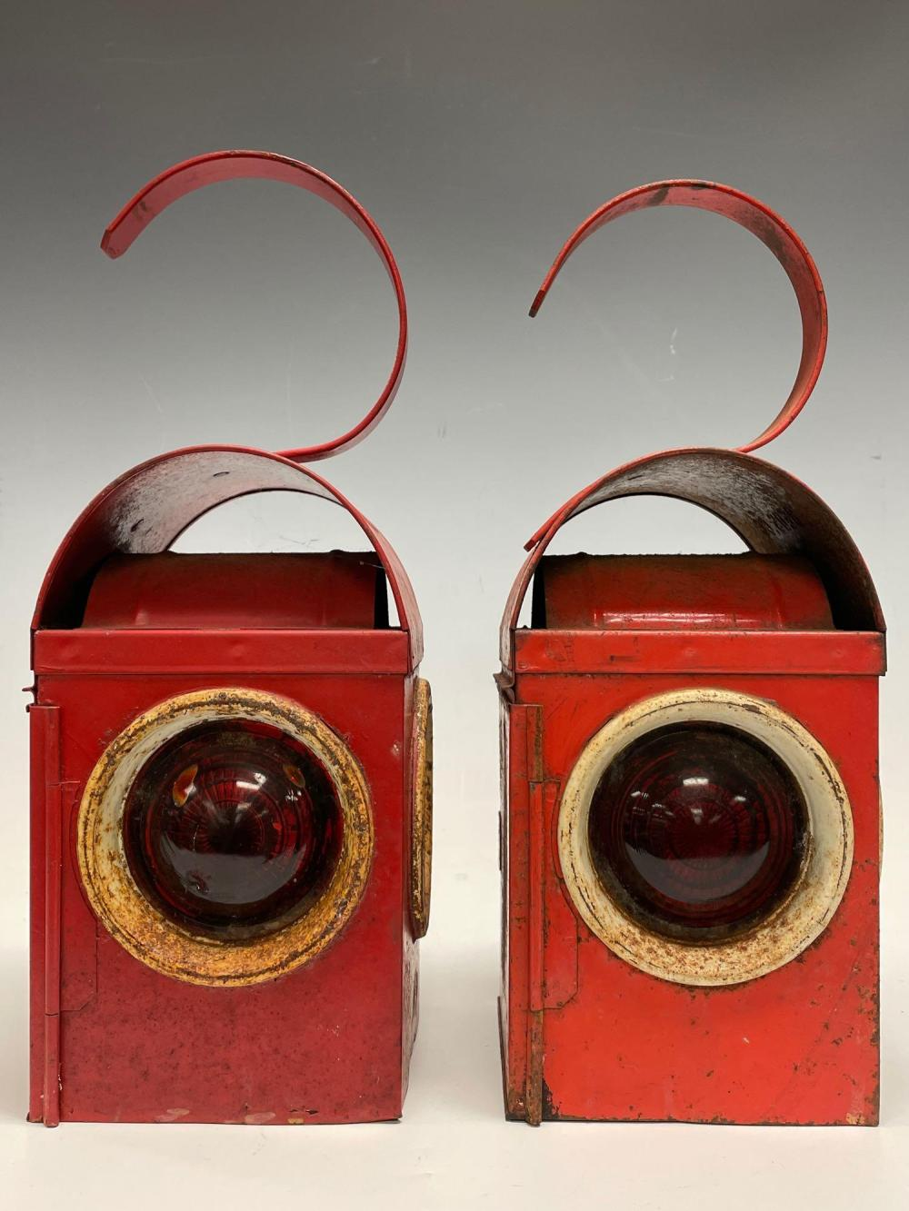 (2) Pair of Early English RailRoad Lanterns BEDS CC