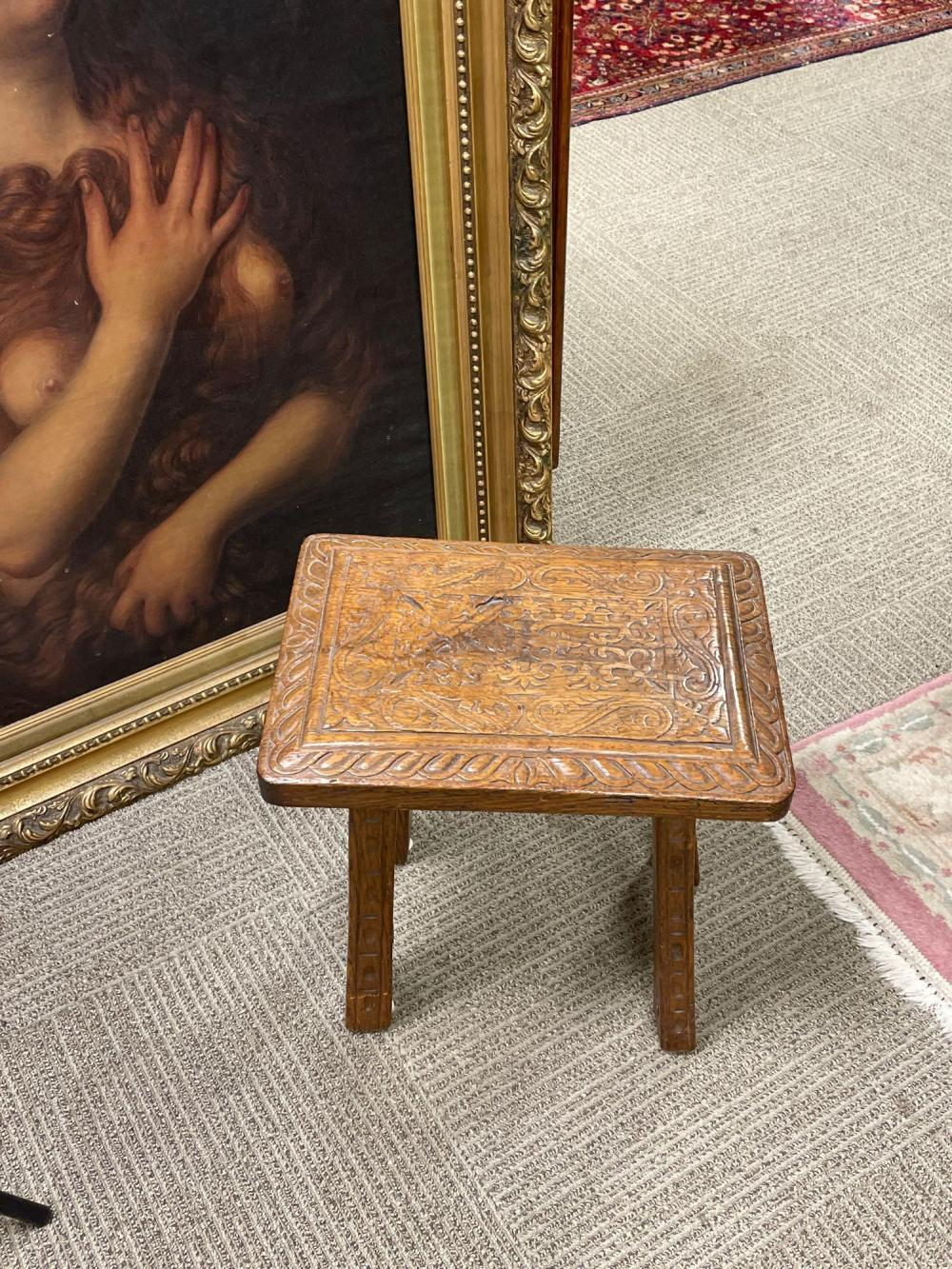 Fine Early ENGLISH Carved Oak Stool