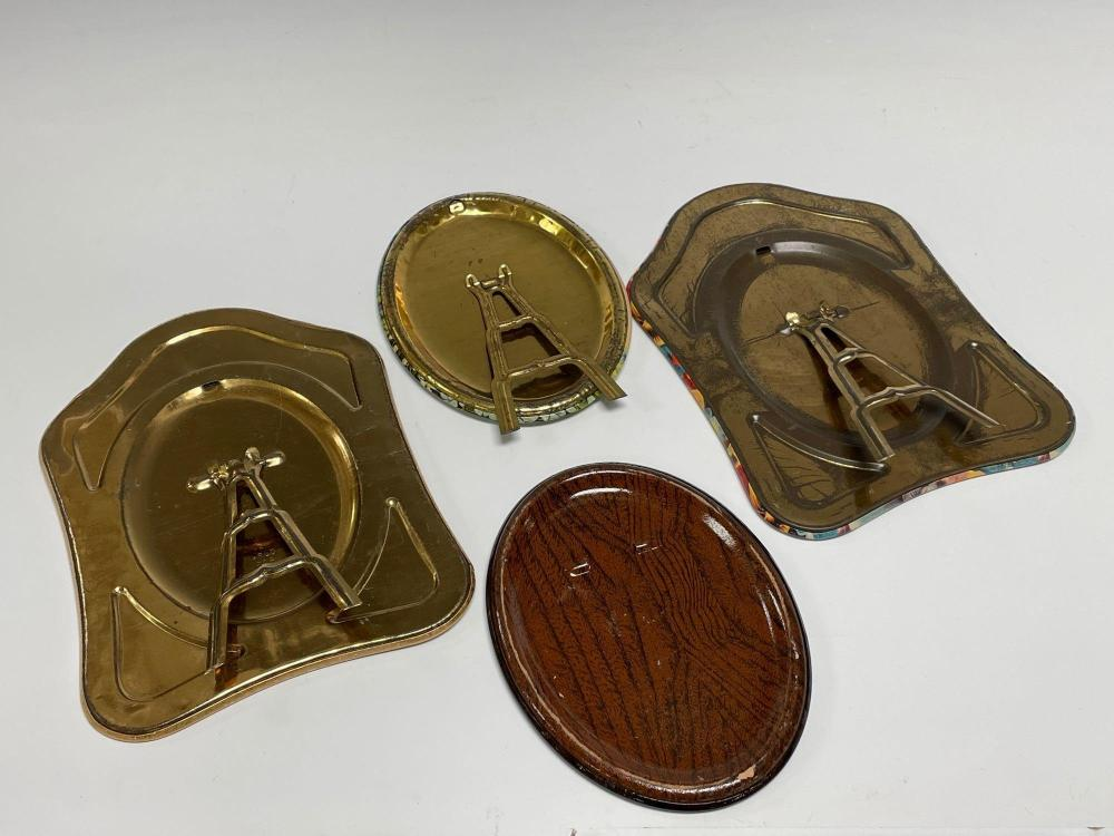 Four US Military Related Celluloid Button Photo Frames