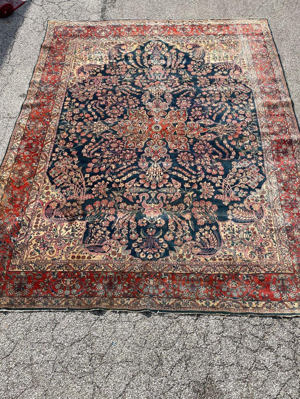 Antique Room Size Persian Sarouk Carpet