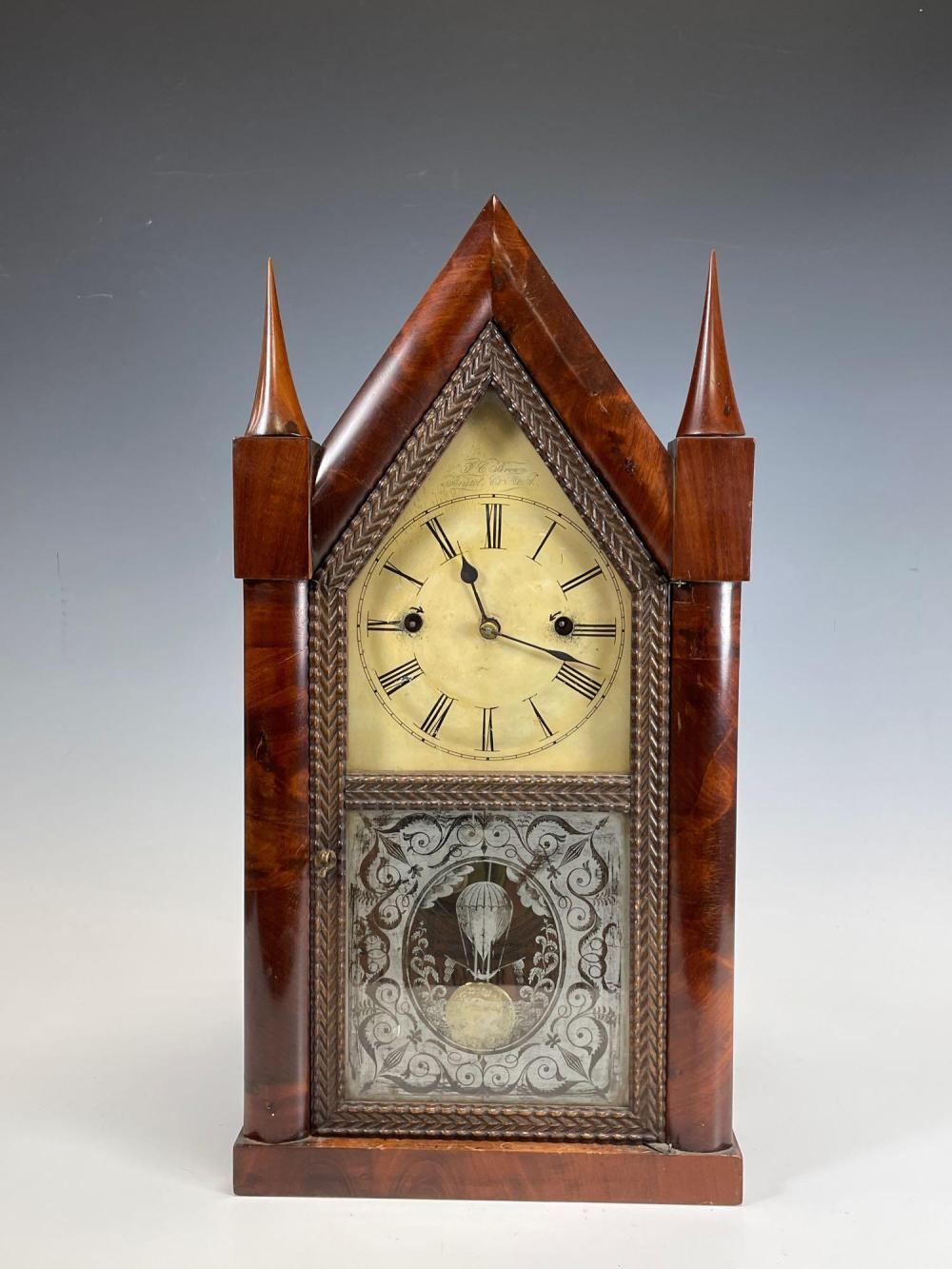 J.C. Brown Gothic Steeple Ripple Clock Ca.1850