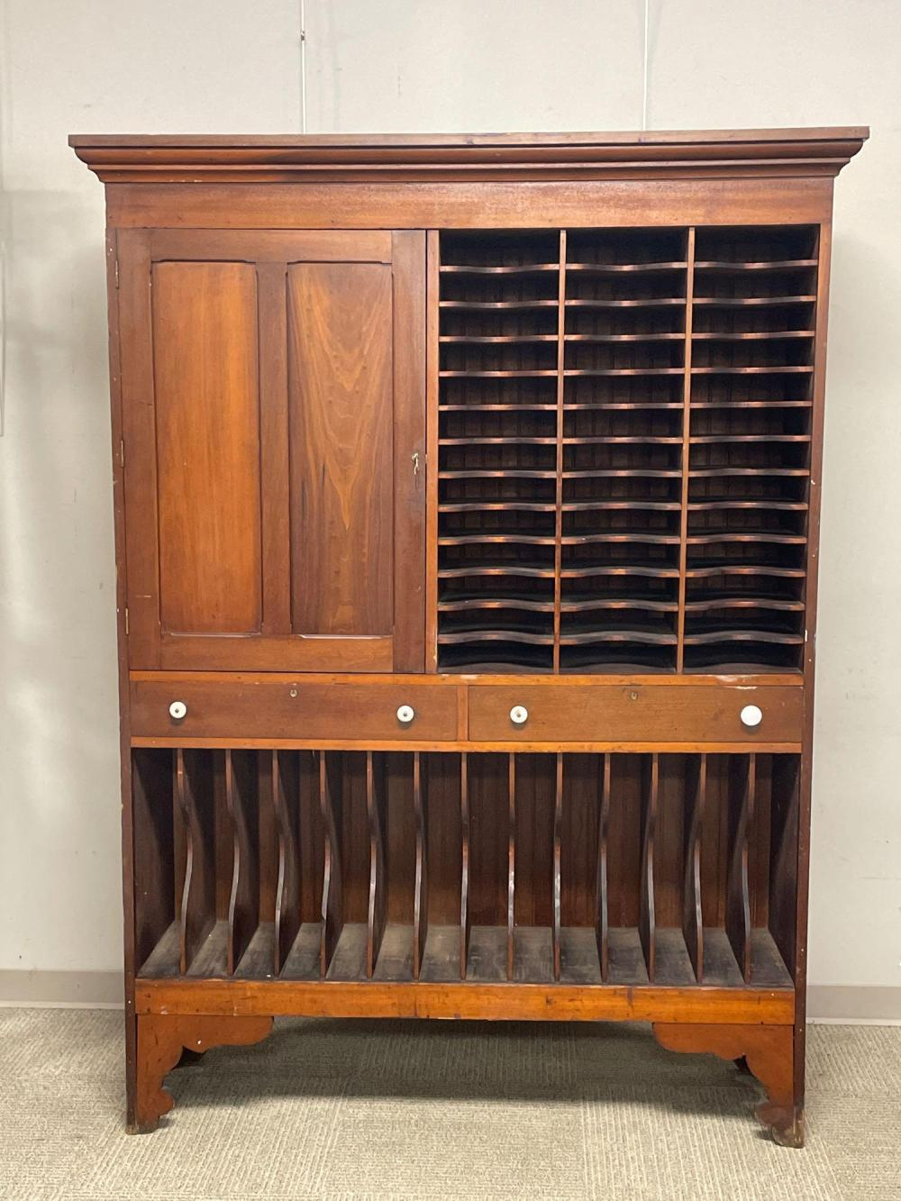 19th C. Hotel Postal and Registry Slotted Cabinet
