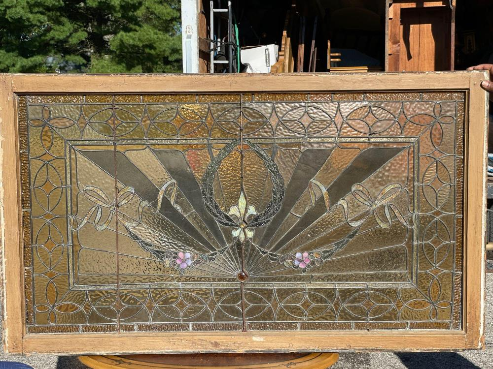 Leaded and Stained Glass American Art Deco Window