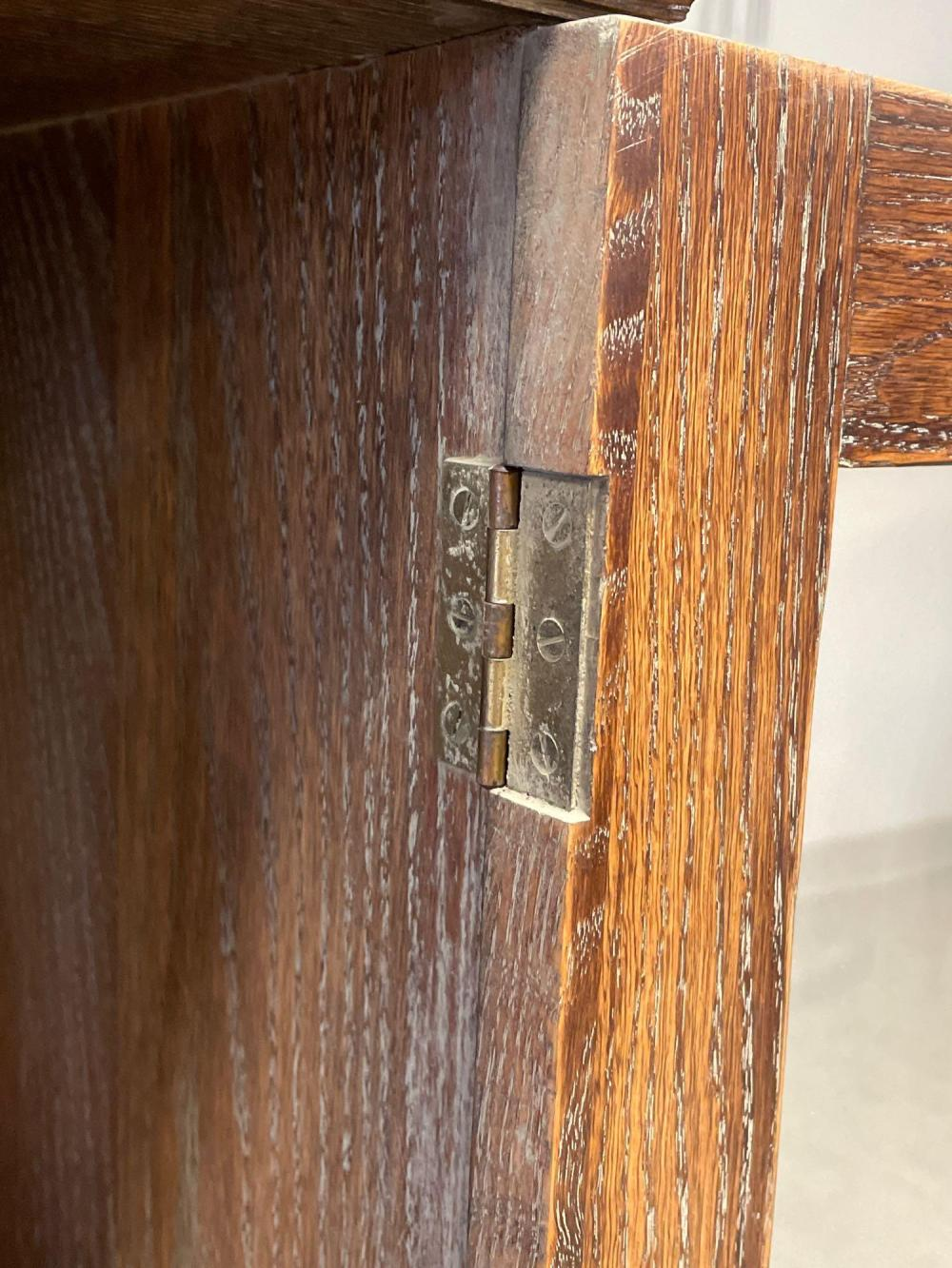 Carved Oak Two Door Bookcase