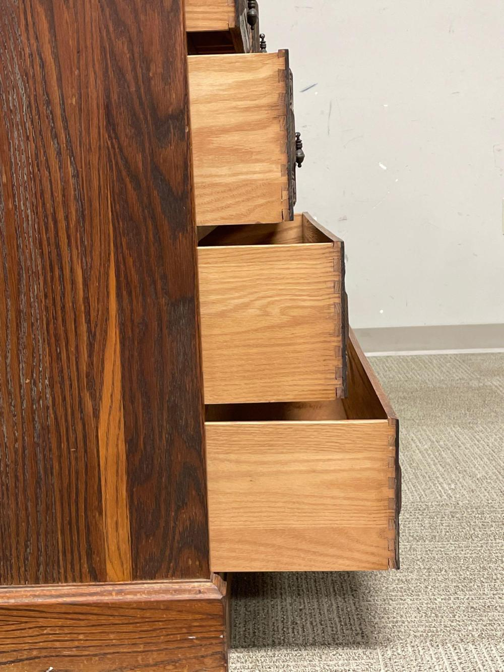 Carved American Oak Dresser - attr. Romweber Viking